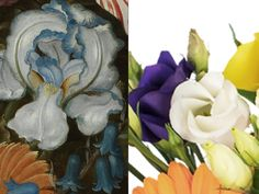 """White and Violet Lisianthus - """"Lisianthus was chosen to represent the numerous white and blue flowers set amongst the warmer toned varieties. As 'Lizzy' is a symbol of an outgoing nature, it seemed an appropriate nod to the artist himself."""" – Prestige Flowers #NGArtBouquet #Bouquet #Florist #Flowers #Art"""