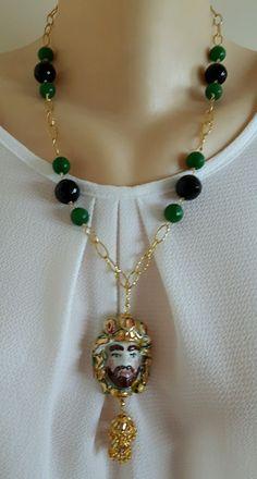 Collana testa moro ceramica Caltagirone, onice,giada verde e catena dorata | eBay