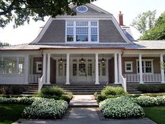 There are some types of roof that would create a traditional house style and a gambrel roof is one of them. A gambrel roof is a symmetrical two-sided roof that has two slopes on each side of the ro… House Design, Shingle Style Homes, Shingle Style, House Styles, Dutch Colonial Homes, Beautiful Homes, Great House, Colonial House, Gambrel Roof