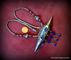 Bedouin Afghani Tribal Lapis,wood beads/white metal necklace with a Stash Compartment on Etsy, €112,30