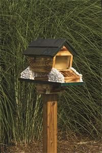 Covered bridge bird feeder