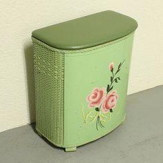 Vintage clothes hamper in mint green