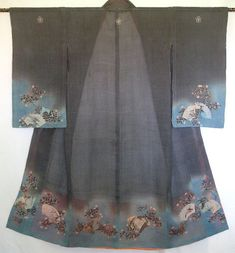 COUNTRY OF ORIGIN: Japan, Kanazawa area    TYPE TEXTILE:  Furisode    APPROXIMATE DATE OR PERIOD:  Edo Era (1615-1868), late 1700s, prior to the turn of the Century    FABRIC CONTENT and CONDITION:  Finely woven Bast Fiber (linen) restricted to the nobility during the months of June, July, and August    FINISHED SIZE:  55 inches high x 49 inches at its widest point of the hem; if hung straight, the width measures 43 inches at the hem