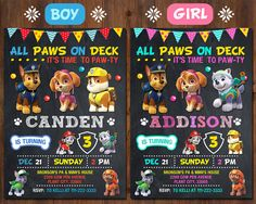 Paw Patrol Birthday Invitation Digital File. This listing (Paw Patrol Invitation for boy or girl) is a digital file customized with your personalized information. No printed materials will be shipped. Receive 1 high resolution Photo Invitation (JPEG file) via email for printing. Can be printed on photo paper or cardstock at home or at most photo labs. This Paw Patrol invitation is available in 4x6 or 5x7 inches (300dpi for high quality print results). Please choose the size on the right…