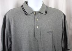 Greg Norman Mens Gray Short Sleeve 100% Cotton Knit Shirt Size Large #GregNorman #PoloRugby