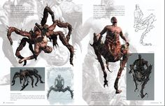 Imagen del Noga-Trchanje y del Noga-Skakanje en el libro de arte de Resident Evil 6. Estos enemigos surgen de la mutacion de un J'avo a una criatura con caracteristicas de araña y de saltamonte respectivamente. ///  Image of the Noga-Trchanje and of the Noga-Skakanje in the Resident Evil 6 Artbook.  These enemies are the result of a J'avo mutating into a creature that looks like a spider and a grasshoper respectively.