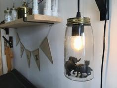 Inspiratie voor de kinderkamer #kidsroominspiration Jungle Room, Ikea Kids, Diy Home Decor On A Budget, Animal Decor, Mason Jar Lamp, Boy Room, Diy For Kids, Kids Bedroom, Decoration