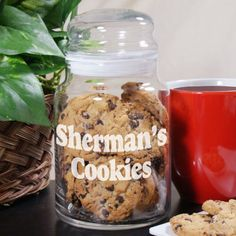 Personalized Engraved Any Message Glass Cookie Jar - Gifts Happen Here