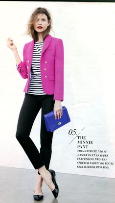 J.Crew - Striped tee, black Minnie pant, black ballet flats and contrasting pink jacket More