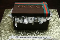We are here as your custom cake specialist in NJ! We customize your cake any way you wish and deliver it straight to your event! Money Birthday Cake, Money Cake, Birthday Cakes For Women, Happy 25th Birthday, Birthday Party For Teens, Sons Birthday, Gucci Cake, Cupcakes For Men, Graduation Cupcakes