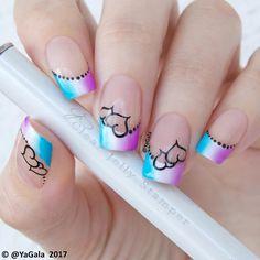 "9,308 Synes godt om, 30 kommentarer – Galina S. (@yagala) på Instagram: ""💜French manicure with ""smile"" brush, stamping plate cjs v-04, black stamping polish - all are from…"""