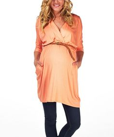 Love this Coral Belted Maternity Dolman Tunic by PinkBlush Maternity on #zulily! #zulilyfinds $29.99