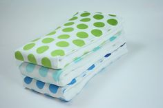 Cloth Diaper Burp Cloth, Burp Rag, set of 3 , Ombre Dots in Teal, Navy, and Green by Riley Blake via Etsy