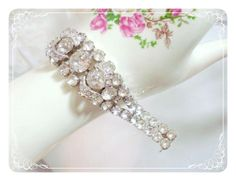 Vintage Eisenberg Rhinestone Bracelet w Swirl   by bodaciousjewels, $165.00
