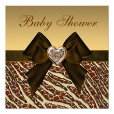 Animal Print & Heart Gold & Brown Baby Shower Custom Announcements