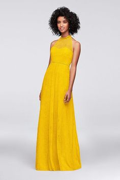 152ffa4b03d Allover Chantilly Lace A-Line Yellow Bridesmaid Dress