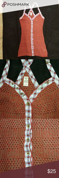 Free People tank t back knit sweater. Free People tank t back knit sweater. Plaid straps. Redish tan knit with purple accents Free People Tops Tank Tops