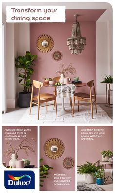 Looking for a painted ceiling idea? Learn how to transform your dining room with. : Looking for a painted ceiling idea? Learn how to transform your dining room with this pink decor idea. Pink Dining Rooms, Dining Room Paint, Dining Room Colors, Brick Wallpaper Bedroom, Room Wall Painting, Ceiling Painting, Room Wall Colors, Aesthetic Rooms, Home And Deco