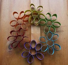 Twig and Toadstool: It's Flower Power Week!!! Let's Make a Recycled Rainbow Flower Wreath!