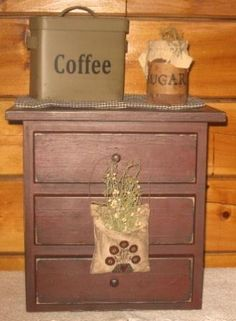Coffee Maker Cover/Cupboard, w/Apothecary Drawers, Primitive-wood appliance covers, primitive coffee maker covers, wood wares, primitive decor, country decor,