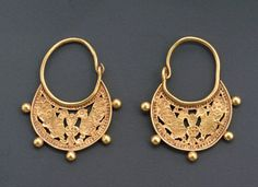 "12th century gold earrings from Iran. From ""Masterpieces of Ancient Jewelry: Exquisite Objects from the Cradle of Civilization,"" an exhibit sponsored by The National Jewelry Institute."