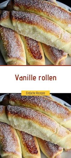 Vanille rollen – Einfache Rezepte German Bakery, Baking Recipes, Dessert Recipes, Chocolate Cookies, Hot Dog Buns, Nutella, Food And Drink, Sweets, Bread