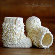 Crochet Pattern Baby Boot  Furrylicious loop boot   Pattern