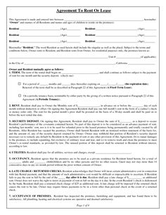 free rental agreements to print free standard lease agreement form