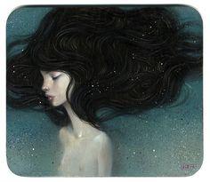 "printsandpleatsvintage: ""this illustration is beautiful. i love that the white flecks dancing over her flowing hair, looks like illuminated pixie dust! """