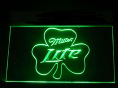 Miller Lite Shamrock Beer Neon Light Sign
