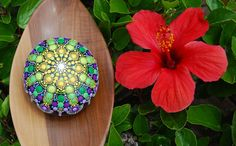 Mandala stone/ Wedding table decor/ Hand painted by Mandalaole