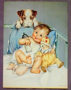 charlotte becker baby - dog litho print reminds me of owen! Posters Vintage, Images Vintage, Vintage Pictures, Vintage Postcards, Vintage Prints, Cute Pictures, Retro Baby, Old Illustrations, Litho Print