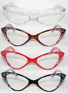 5a1a3e0a6a Cat Eye Clear Lens Glasses Rockabilly red tortoise black Retro Rhinestone  50 s