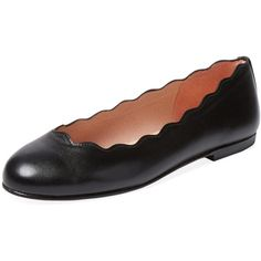 French Sole FS/NY Jigsaw Ballet Flat ($99) ❤ liked on Polyvore featuring shoes, flats, black, leather shoes, black ballet flats, black shoes, black skimmer and leather flats