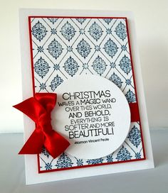 Chrismas card...love the silky bow and just a tiny hint of red around the main panel...