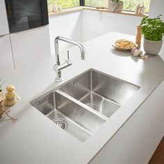 SHOP the Grohe Bowl Undermount Stainless Steel Kitchen Sink at Victorian Plumbing UK Steel Kitchen Sink, Kitchen Sink Design, New Kitchen, Kitchen Decor, Kitchen Ideas, Kitchen Sink Ideas Undermount, Square Kitchen Sink, Kitchen Handles, Grohe Blue