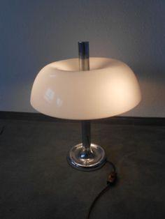 Tischlampe Kultig Chrom Kunststoff Schirm Hillebrand 60 Er