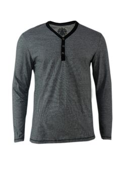 Navy Y Neck Cotton Longsleeve Shirt