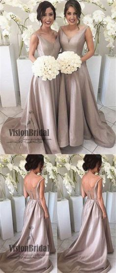 27aad2b2f13 Classy V-Neck Open Back Zipper Up A-Line Long Bridesmaid Dress