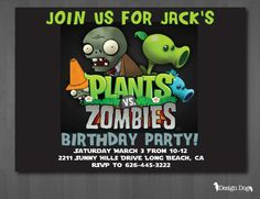 Plants vs. Zombies Birthday Invitation