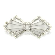 Platinum, Rock Crystal, Seed Pearl and Diamond Bow Brooch, France, Circa 1920