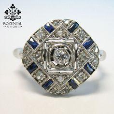 Antique Art Deco Platinum Diamond & Sapphire Ring  (hva)