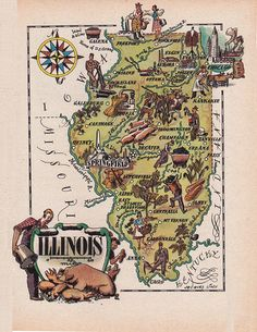 old map of Illinois, a pictorial map by Jacques Liozu, 1946, this is a good source for high quality printable vintage maps and illustrations #oldmapofillinois #pictorialmaps