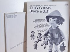 Vintage Women's Day Sewing Pattern This is Amy She's A Doll 1972 Joan Russel Children's Soft Cloth Doll Pattern by OffbeatAvenue on Etsy