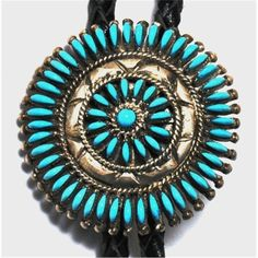 ~ Zuni Turquoise Cluster Sterling Silver Bolo Tie ~