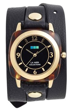 La Mer Collections Leather Strap Wrap Watch, 38mm available at #Nordstrom