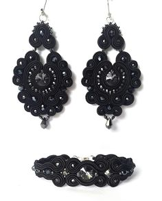 biżuteria soutache, haft koralikowy, torby z filcu: Czarno-szary komplet