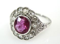 Breathtaking! Ruby and Diamond Ring with such delicate mill grain details!