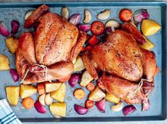 Roasting vegetables along with chicken cuts down on cooking time.