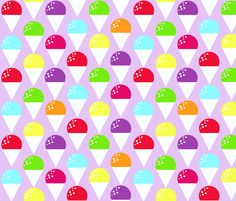 Snow cones on lilac fabric by mulo_marrone on Spoonflower - custom fabric Snow Cones, Grad Parties, Custom Fabric, Spoonflower, Lilac, Craft Projects, Fabrics, Illustrations, Colorful